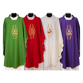 Franciscan Catholic Chasuble in polyester with Jesus and St.Francis hands s1