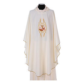 Franciscan Catholic Chasuble in polyester with Jesus and St.Francis hands s5