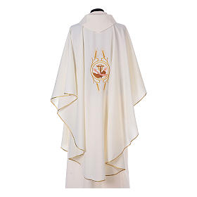 Franciscan Catholic Chasuble in polyester with Jesus and St.Francis hands s9