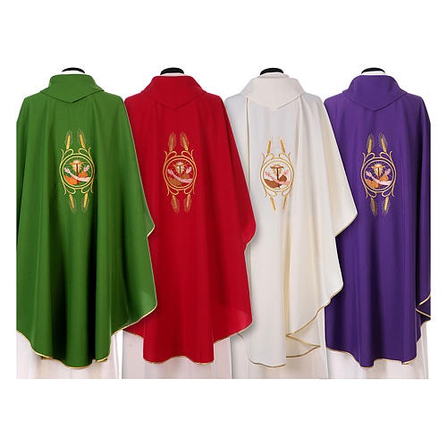 Franciscan Catholic Chasuble in polyester with Jesus and St.Francis hands 2
