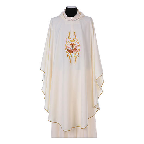 Franciscan Catholic Chasuble in polyester with Jesus and St.Francis hands 5