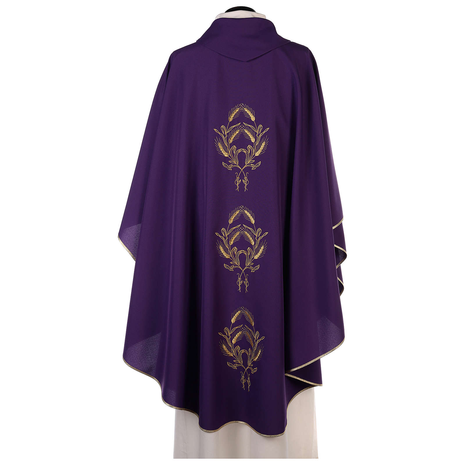 Chasuble in polyester with gold cross and wheat 4