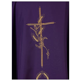 Chasuble in polyester with gold cross and wheat s2