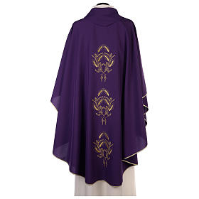 Chasuble in polyester with gold cross and wheat s4