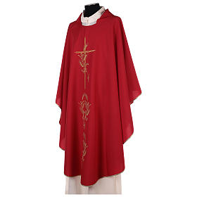 Chasuble in polyester with gold cross and wheat s10
