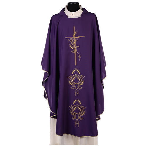 Chasuble in polyester with gold cross and wheat 1