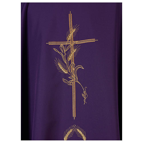 Chasuble in polyester with gold cross and wheat 2