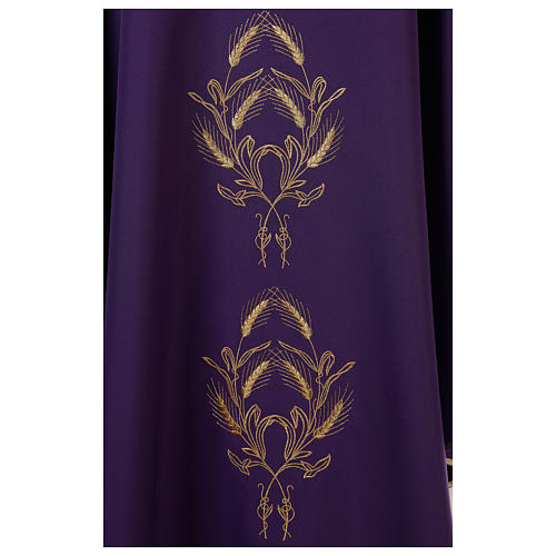 Chasuble in polyester with gold cross and wheat 5