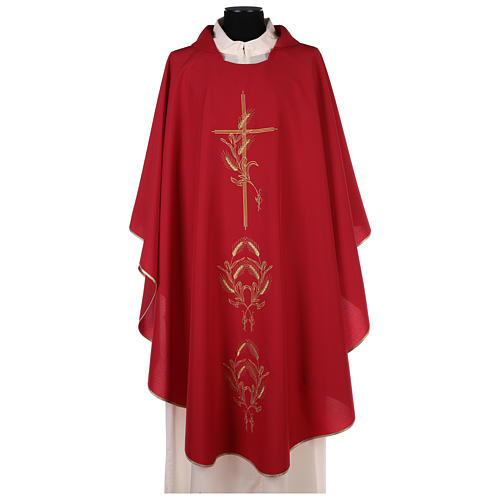 Chasuble in polyester with gold cross and wheat 8