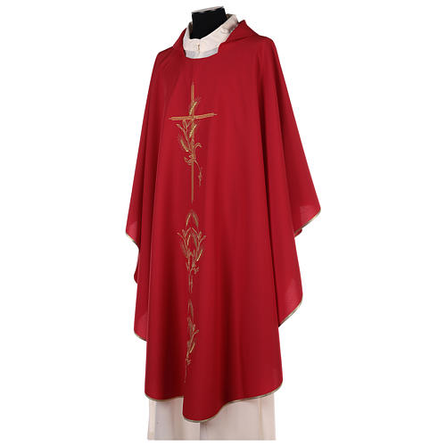 Chasuble in polyester with gold cross and wheat 10