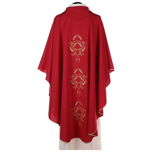 Chasuble in polyester with gold cross and wheat 11