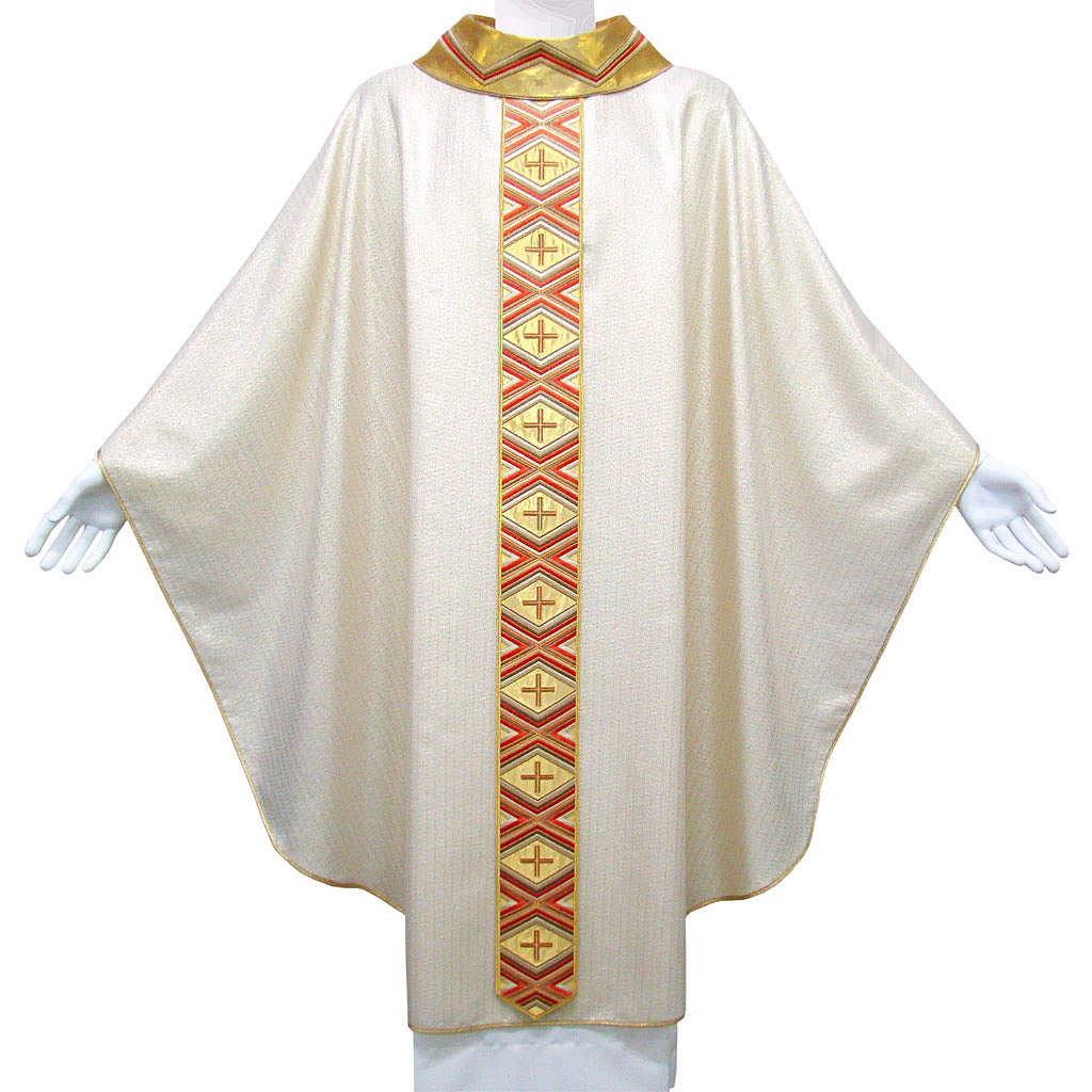 Catholic Chasuble in pure wool and lurex with embroidered orphrey 4