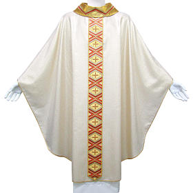 Catholic Chasuble in pure wool and lurex with embroidered orphrey s1