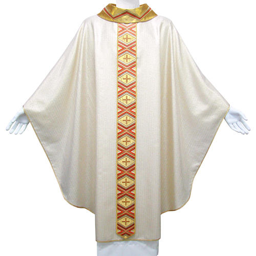 Catholic Chasuble in pure wool and lurex with embroidered orphrey 1