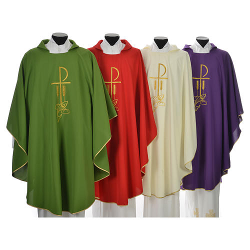 Chasuble in polyester with Chi Rho and Loaves and Bread 1