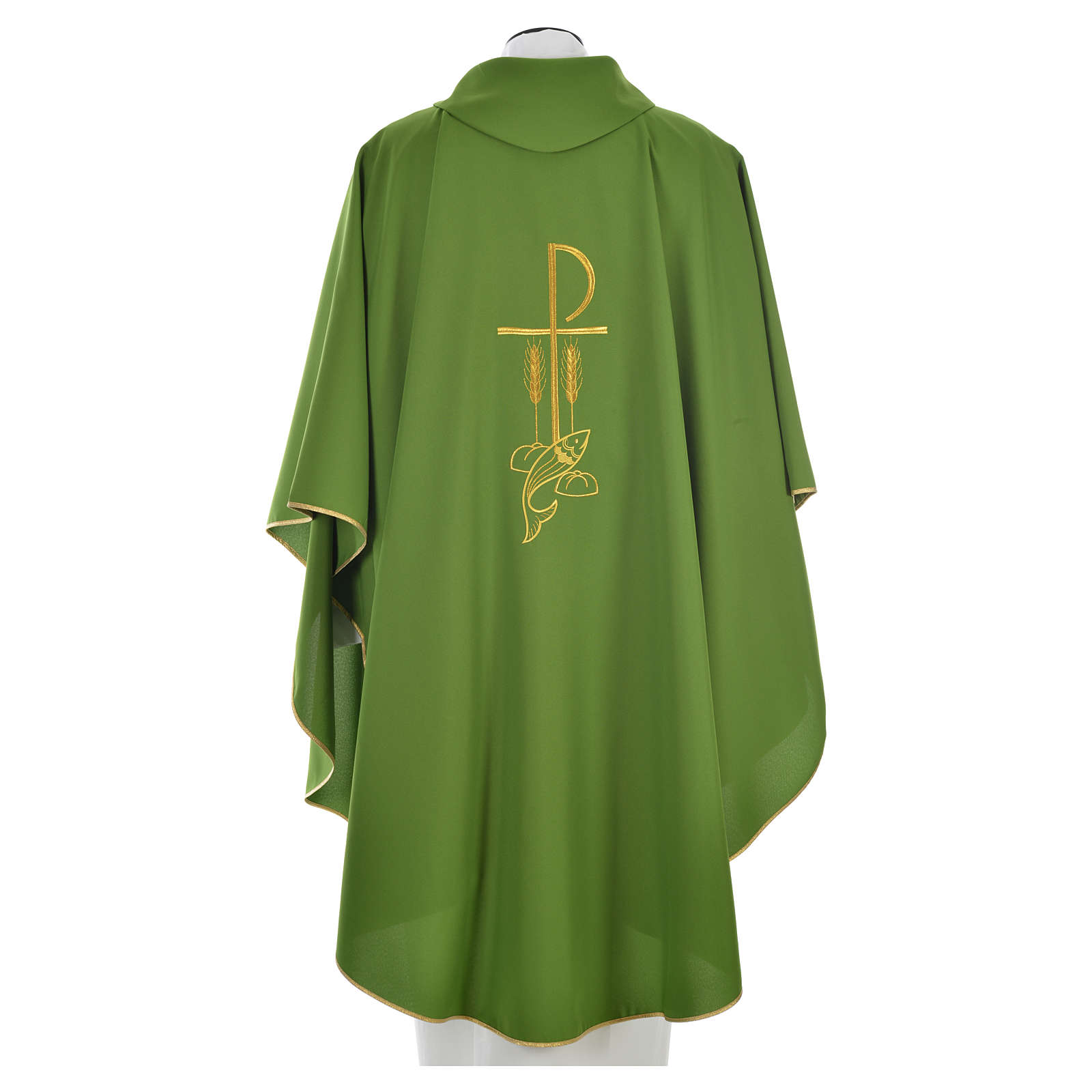 Liturgical Chasuble with Chi Rho and Loaves and Bread in polyester 4