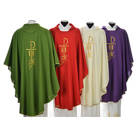 Liturgical Chasuble with Chi Rho and Loaves and Bread in polyester s2