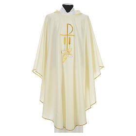 Liturgical Chasuble with Chi Rho and Loaves and Bread in polyester s5