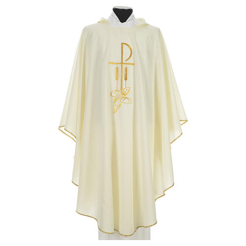 Liturgical Chasuble with Chi Rho and Loaves and Bread in polyester 5