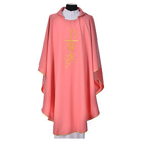 Pink Chasuble in polyester with Chi Rho and Loaves and Bread s1