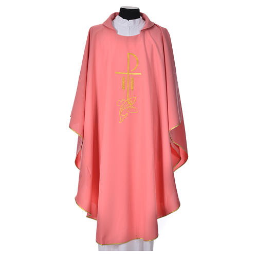 Pink Chasuble in polyester with Chi Rho and Loaves and Bread 1