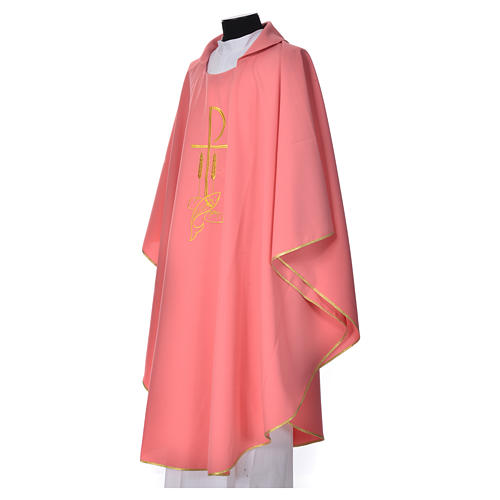 Pink Chasuble in polyester with Chi Rho and Loaves and Bread 2