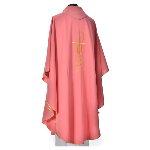 Pink Chasuble in polyester with Chi Rho and Loaves and Bread 3