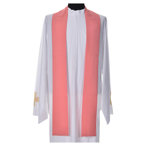 Pink Chasuble in polyester with Chi Rho and Loaves and Bread 7
