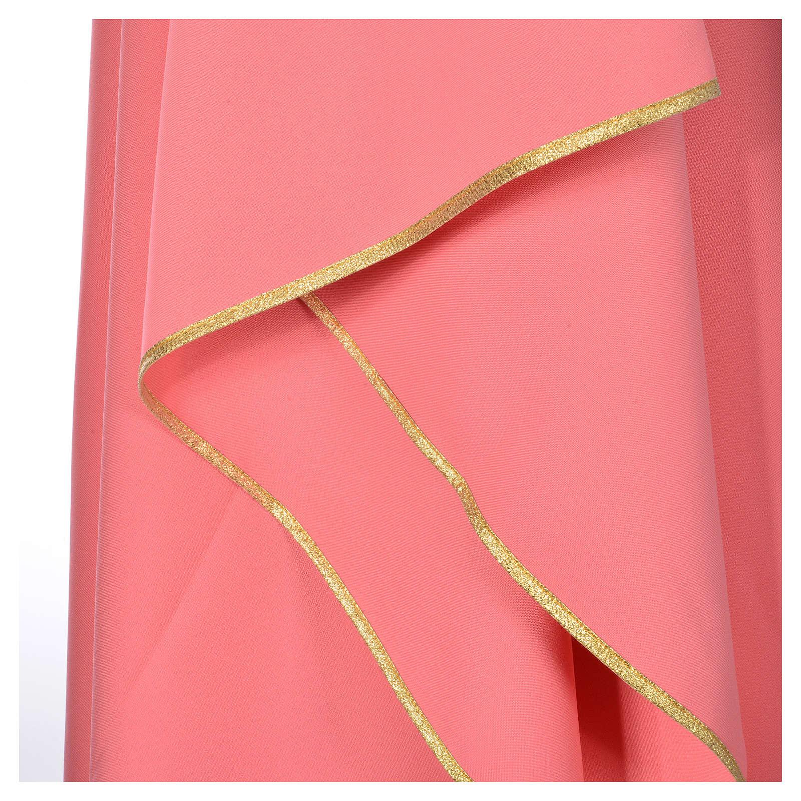 Casula cor-de-rosa 100% poliéster Chi-Rho pão e peixe 4