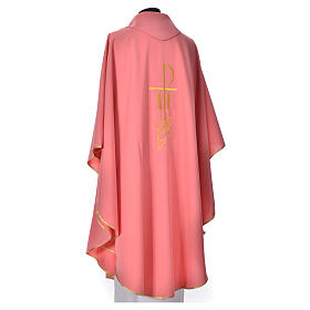 Pink Priest Chasuble with Chi Rho and Loaves and Bread in polyester s3