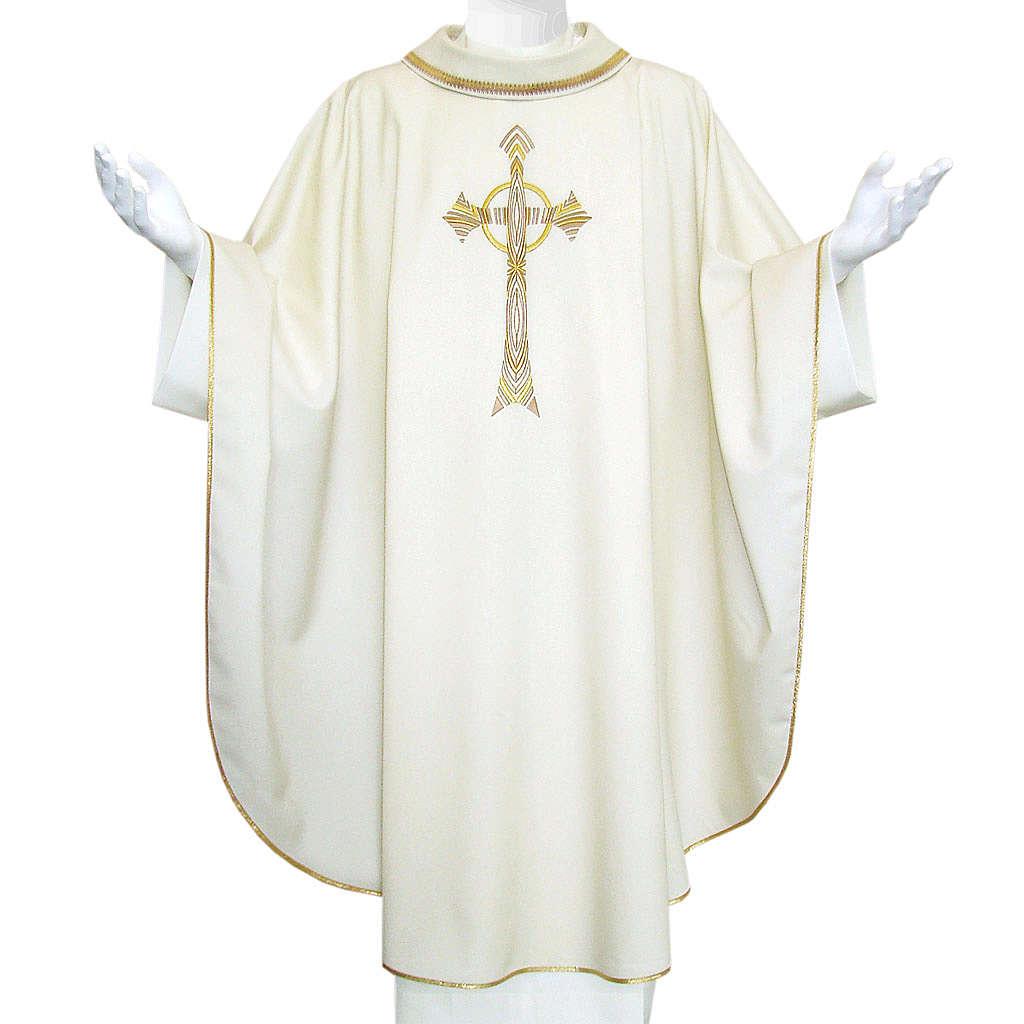 Chasuble liturgique croix dorée 100% laine 4