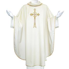 Chasuble liturgique croix dorée 100% laine s1