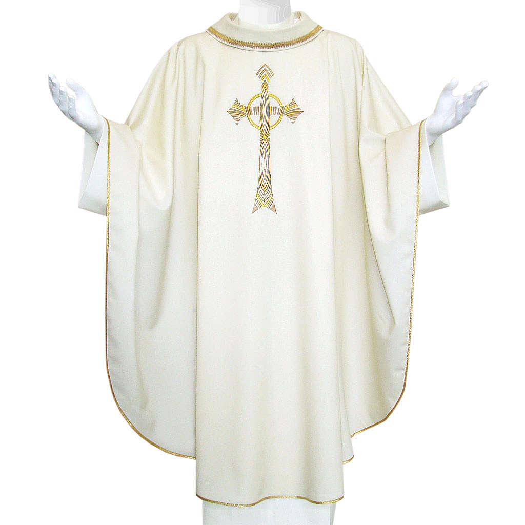 Pure Wool Liturgical Chasuble with golden cross embroidery 4