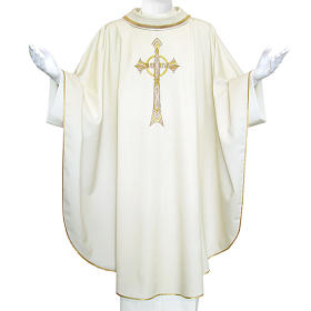 Pure Wool Liturgical Chasuble with golden cross embroidery s1