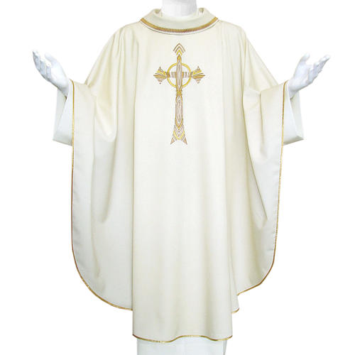 Pure Wool Liturgical Chasuble with golden cross embroidery 1