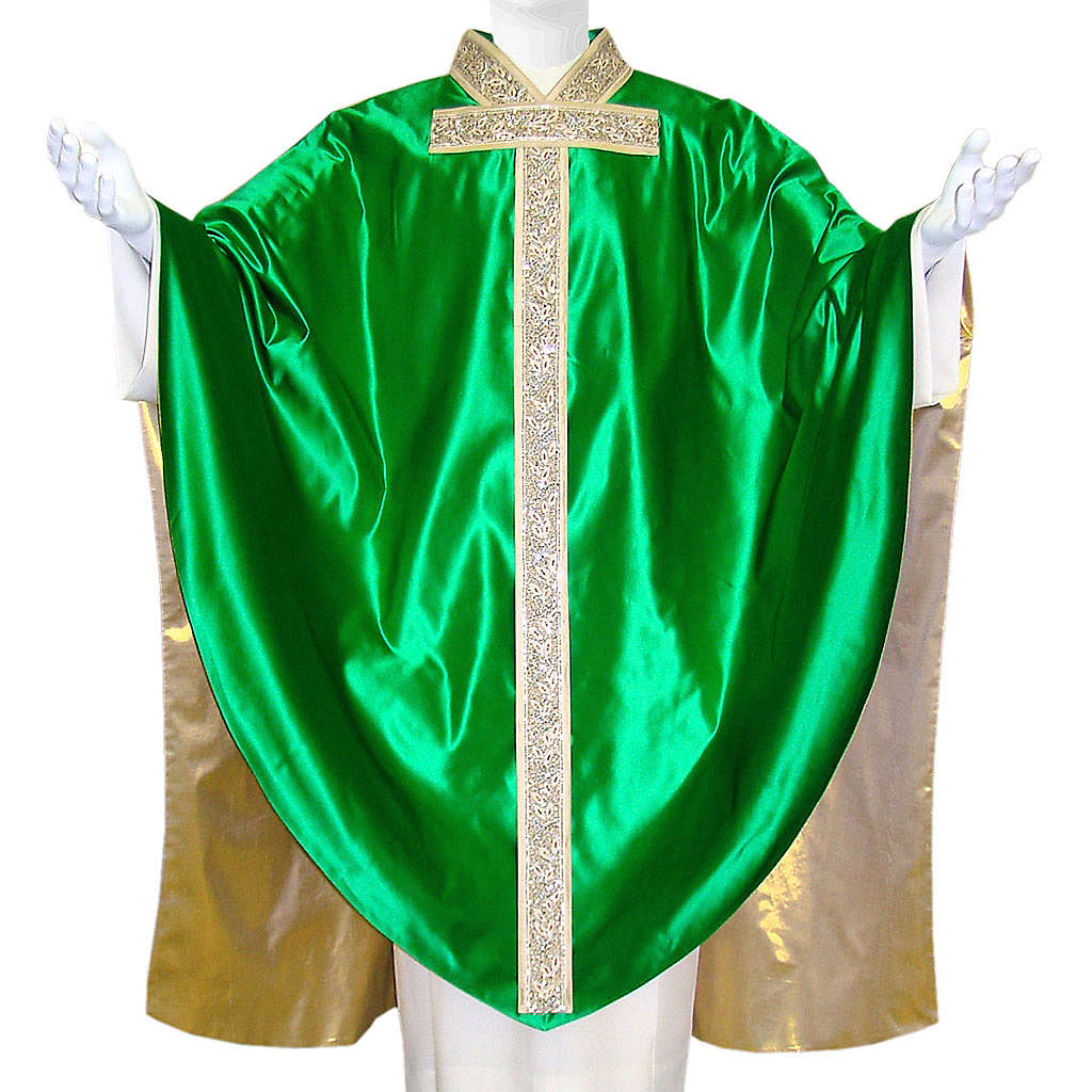 Medieval Chasuble in pure silk with gold silk lining 4