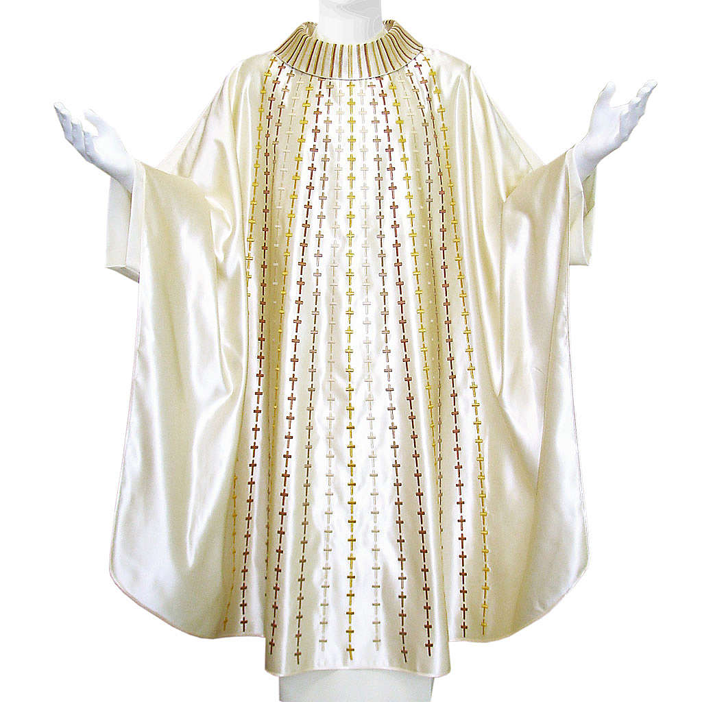 Casulla 100% seda natural decoración cruces 4