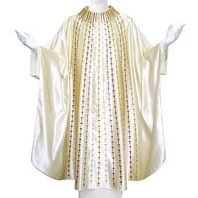 Casulla 100% seda natural decoración cruces s1