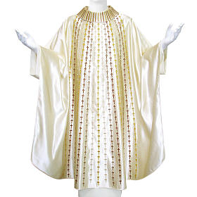 Chasuble in pure silk embroidered with crosses s1