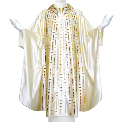 Chasuble in pure silk embroidered with crosses 1