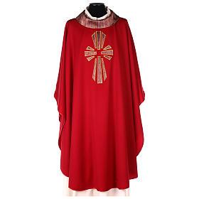 Casulla 100% lana, detalles en 100% seda cruz estilizada s1