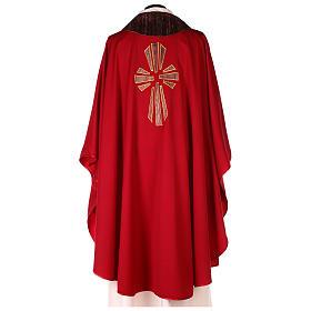 Casulla 100% lana, detalles en 100% seda cruz estilizada s4