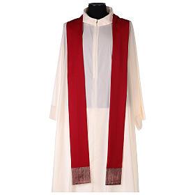 Casulla 100% lana, detalles en 100% seda cruz estilizada s5