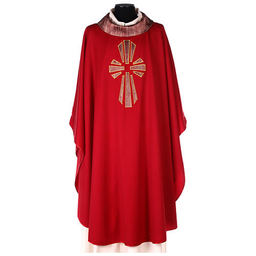 Casulla 100% lana, detalles en 100% seda cruz estilizada 1