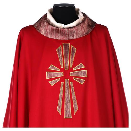 Casulla 100% lana, detalles en 100% seda cruz estilizada 2