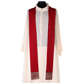 Casula 100% pura lã banda aplicada 100% seda cruz estilizada s5