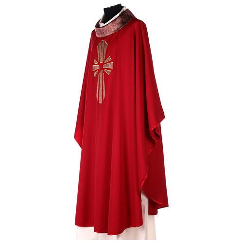 Casula 100% pura lã banda aplicada 100% seda cruz estilizada 3