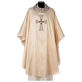 Chasuble liturgique croix appliquée et verre 100% soie s1