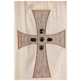 Chasuble liturgique croix appliquée et verre 100% soie s2