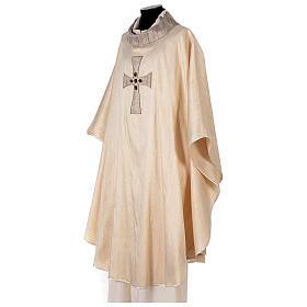 Chasuble liturgique croix appliquée et verre 100% soie s3